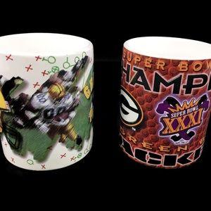 Vintage Set of 2 1996 Green Bay Packers Coffee Mug
